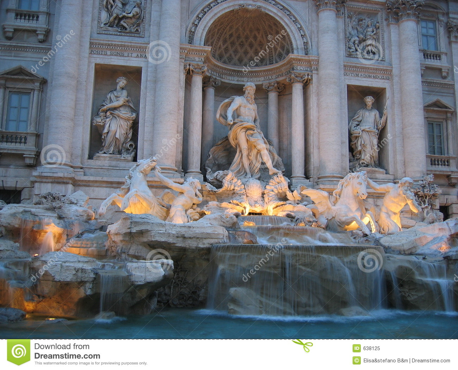 Download Trevi rome фонтана стоковое изображение. изображение насчитывающей sunset - 638125