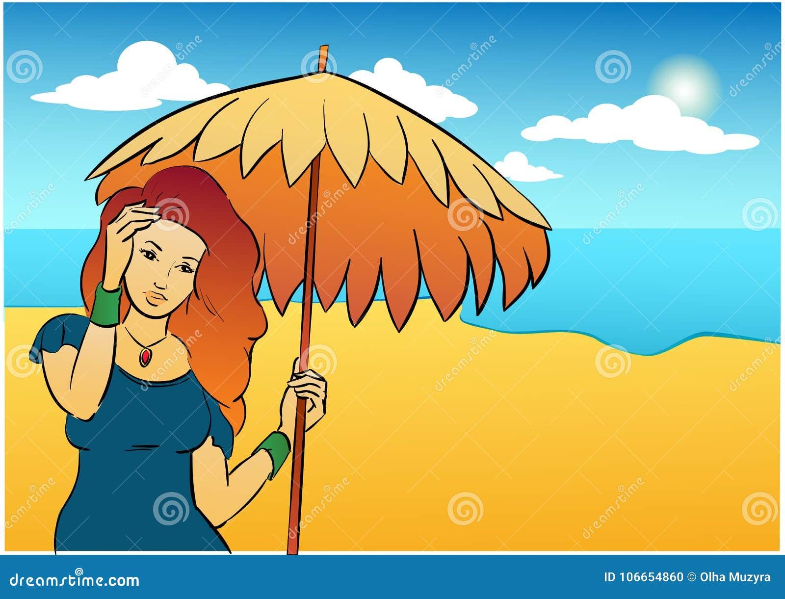 Trevlig flicka med sol-paraplyet