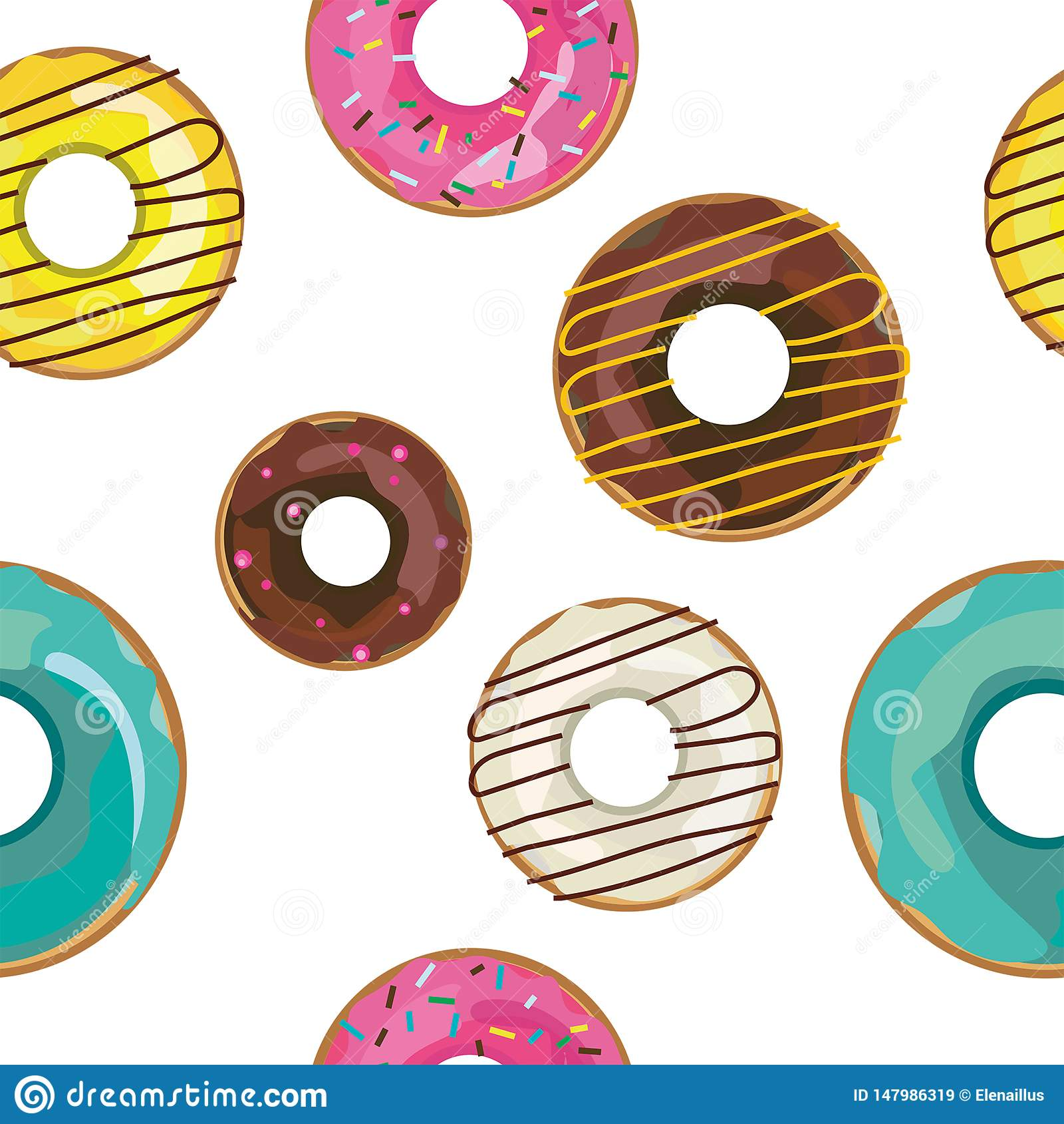 Trevlig sömlös modell för vektor med färgrika donuts