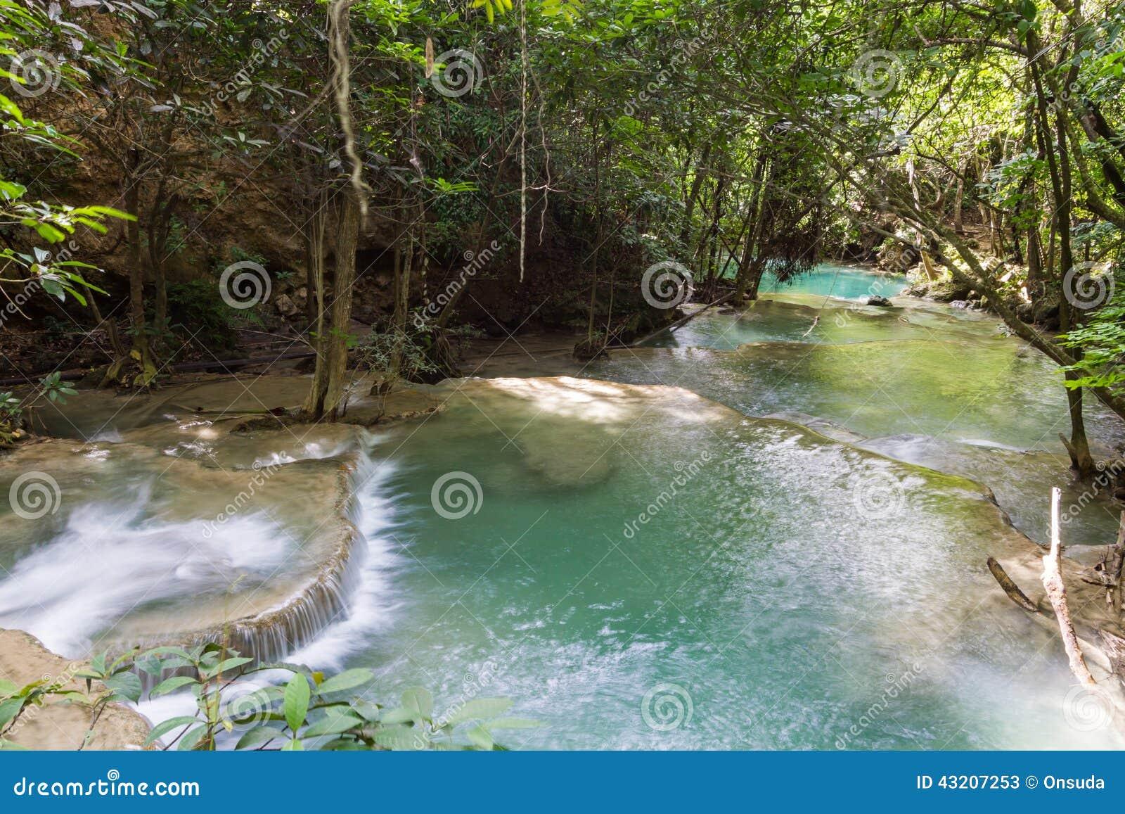 Download Trevlig Vattenfall I Thailand Fotografering för Bildbyråer - Bild av frodigt, thailand: 43207253