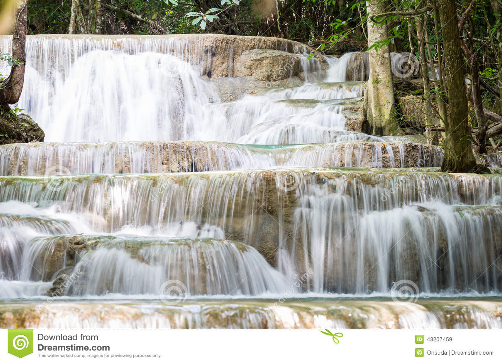 Download Trevlig Vattenfall I Thailand Fotografering för Bildbyråer - Bild av färgstänk, kanal: 43207459