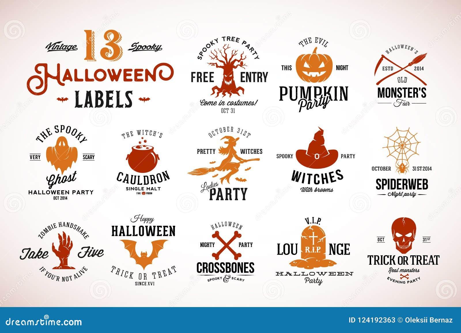 Treze crachás, etiquetas ou Logo Templates assustadores do vetor de Dia das Bruxas do vintage Abóbora, Ghost, crânio, ossos, bast