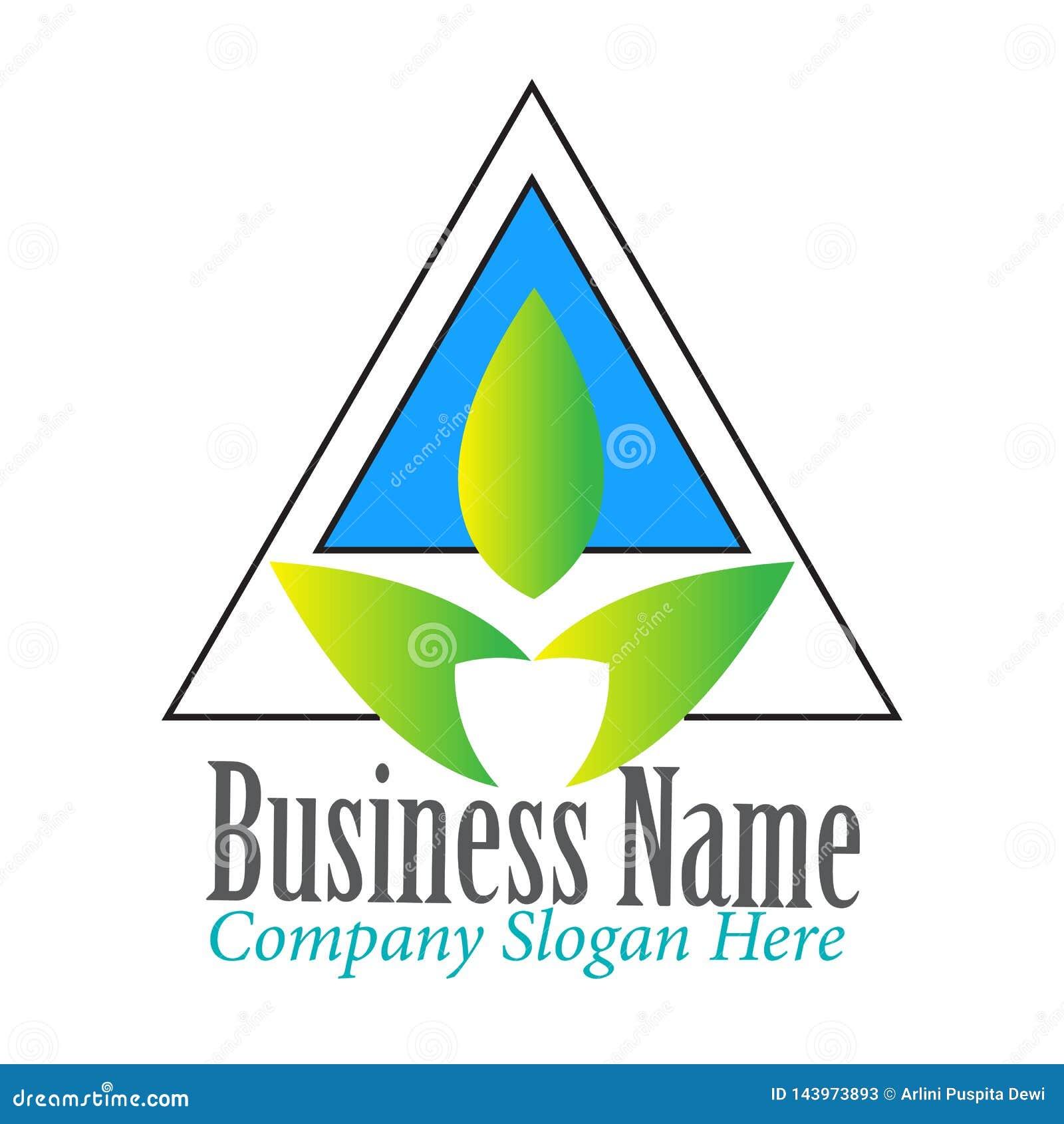 Triángulo moderno simple con la inspiración del diseño del logotipo de la hoja