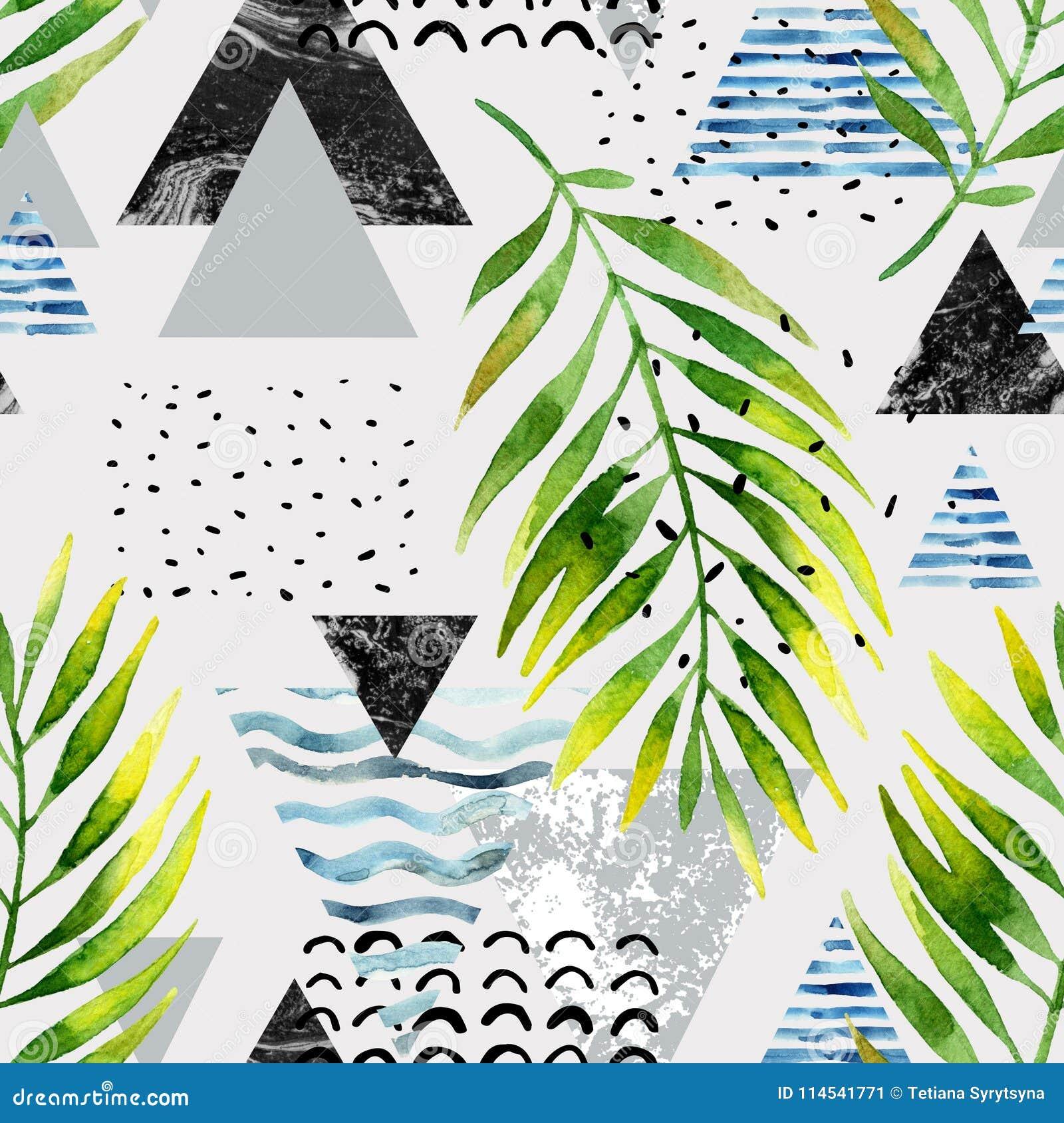 Triángulos con las hojas de la palmera, garabato, mármol, texturas del grunge, formas geométricas en 80s, estilo mínimo 90s