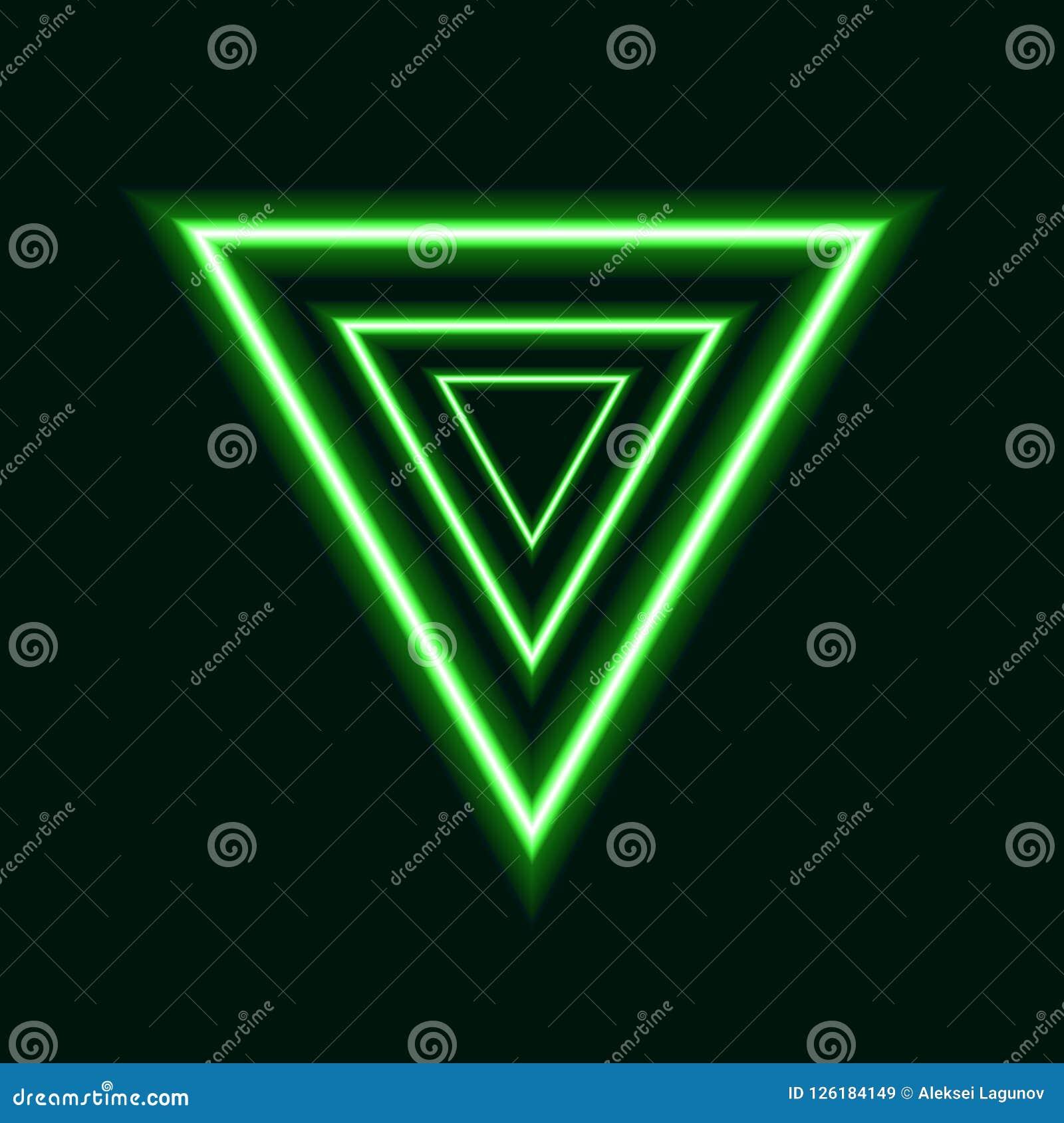 Triángulos de neón verdes del vector, Logo Design futurista, líneas que brillan intensamente