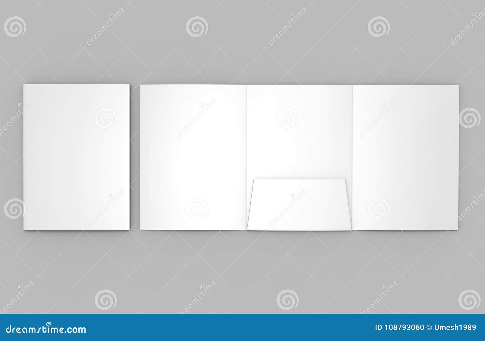 Tri-fold Blank white reinforced A4 single pocket folder catalog on grey background for mock up. 3D rendering.