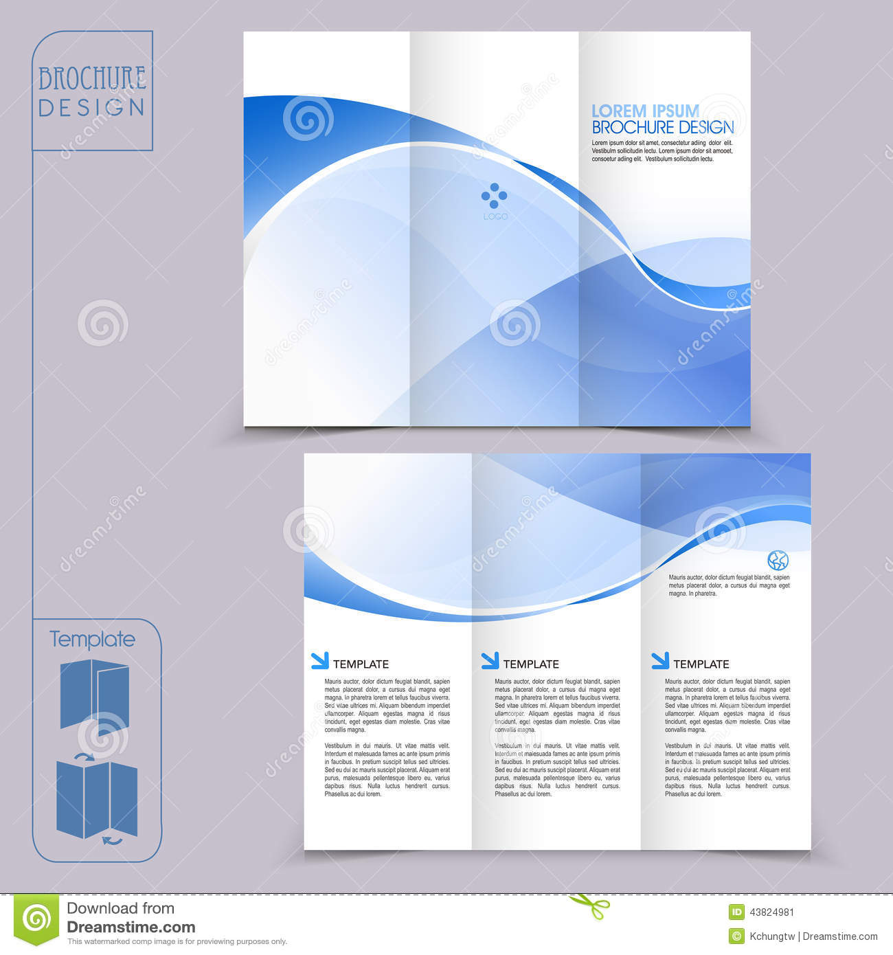 Tri fold blue template for business advertising brochure for Three fold brochure template free download