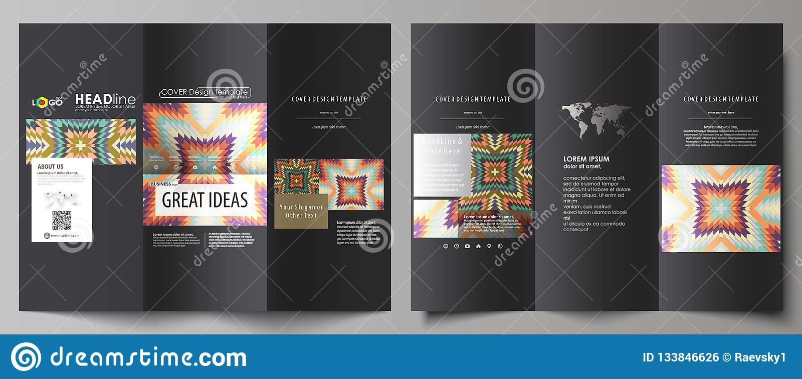Tri Fold Brochure Business Templates On Both Sides Abstract