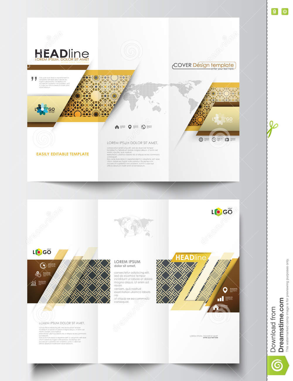 tri fold brochure business templates on both sides easy editable