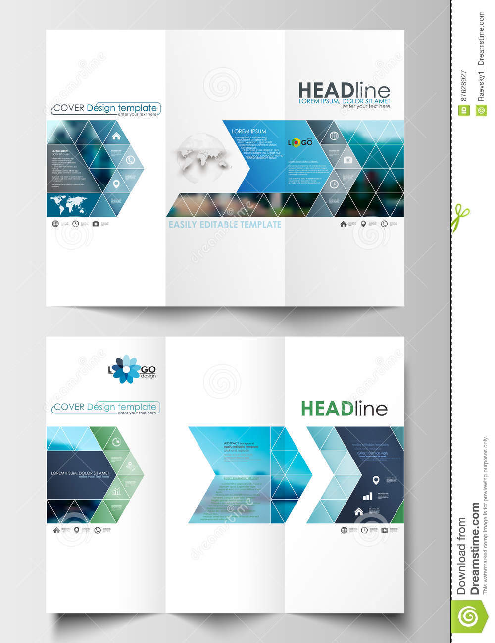 tri fold brochure business templates on both sides flat design blue