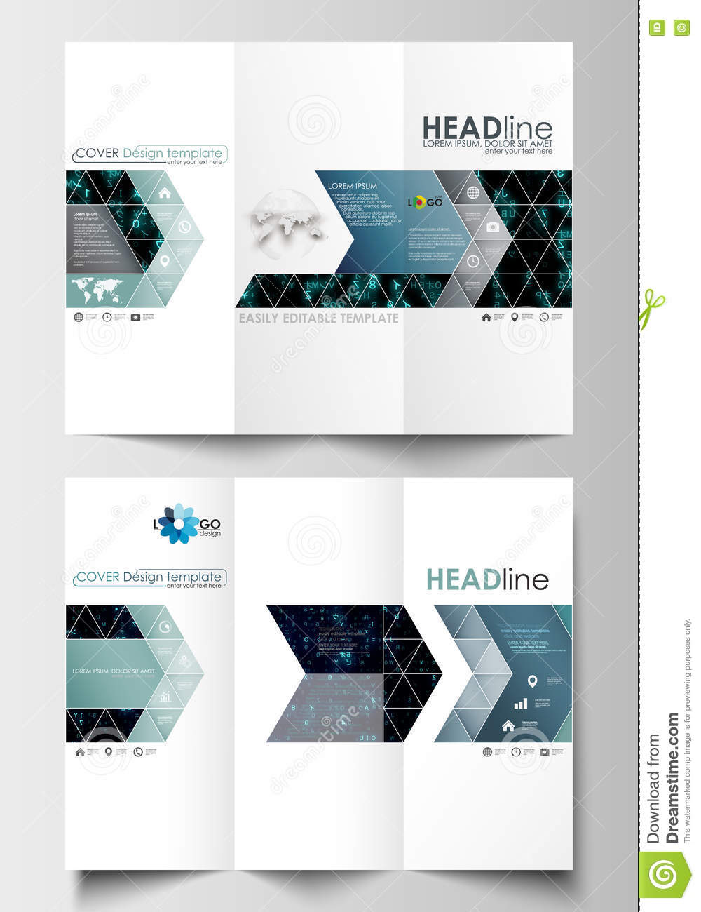 tri fold brochure business templates easy editable layout in flat
