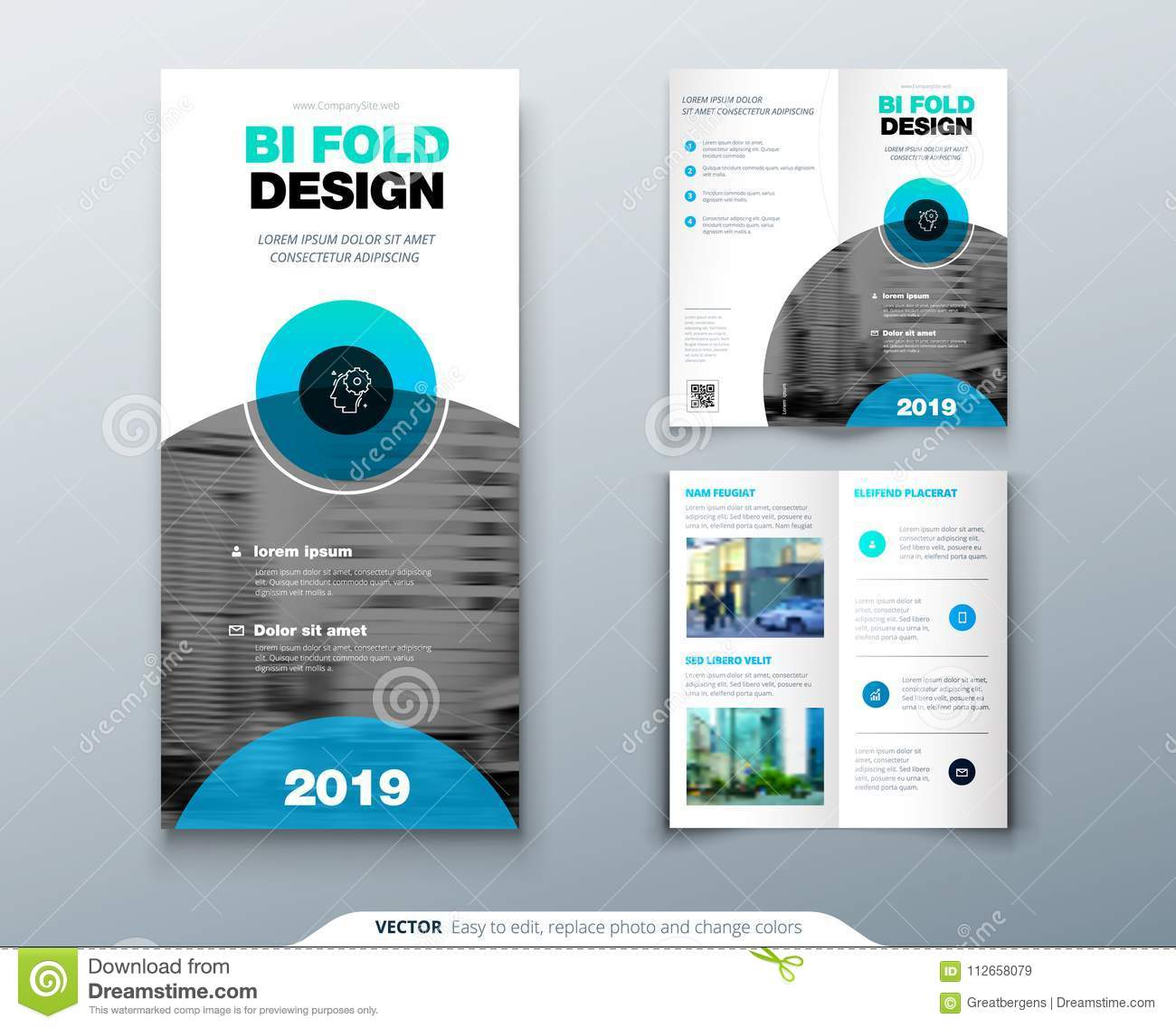 Download Tri Fold Brochure Design. Business Template For Tri Fold Flyer  With Modern Circle Photo