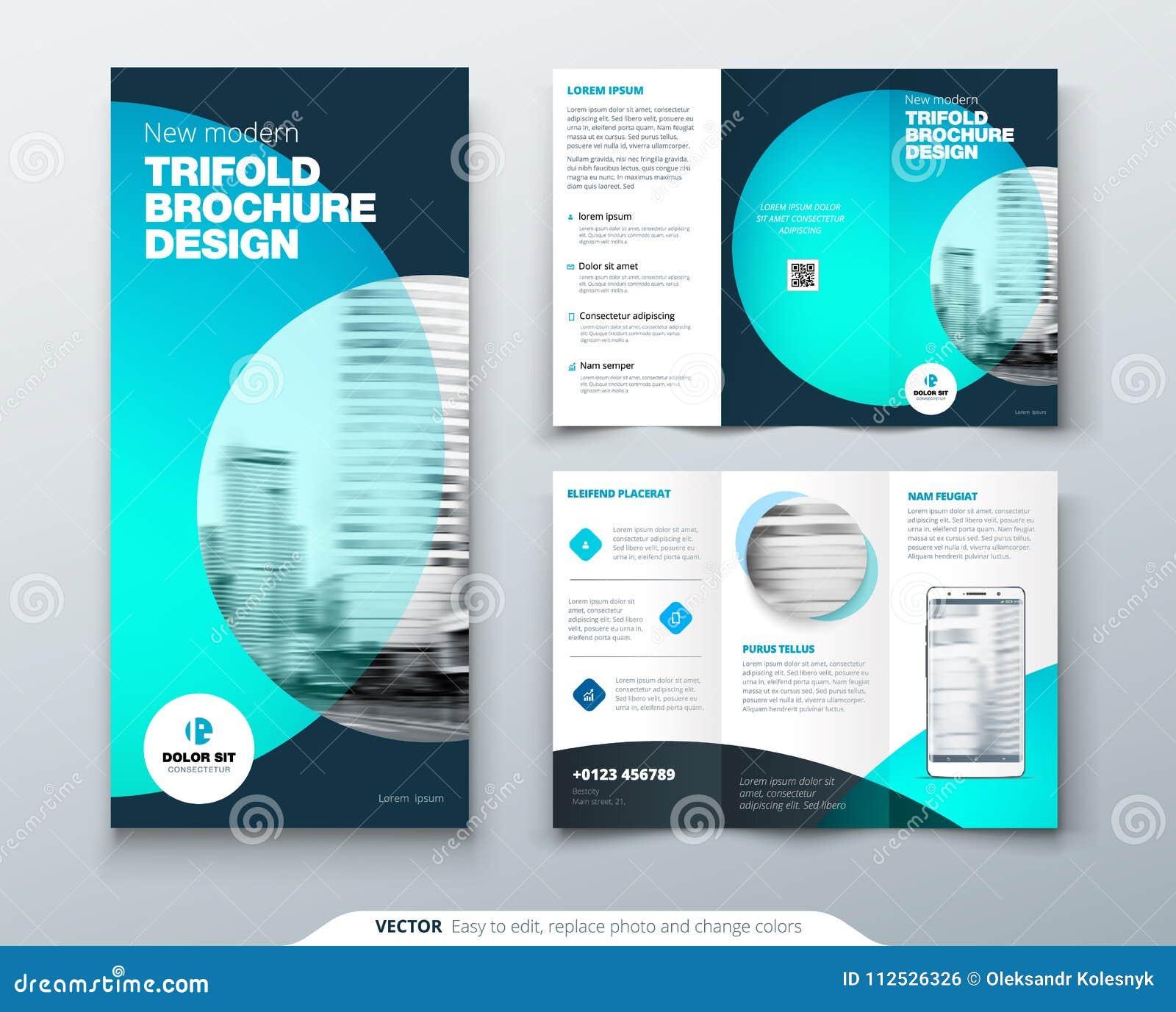 tri fold brochure design teal orange corporate business template