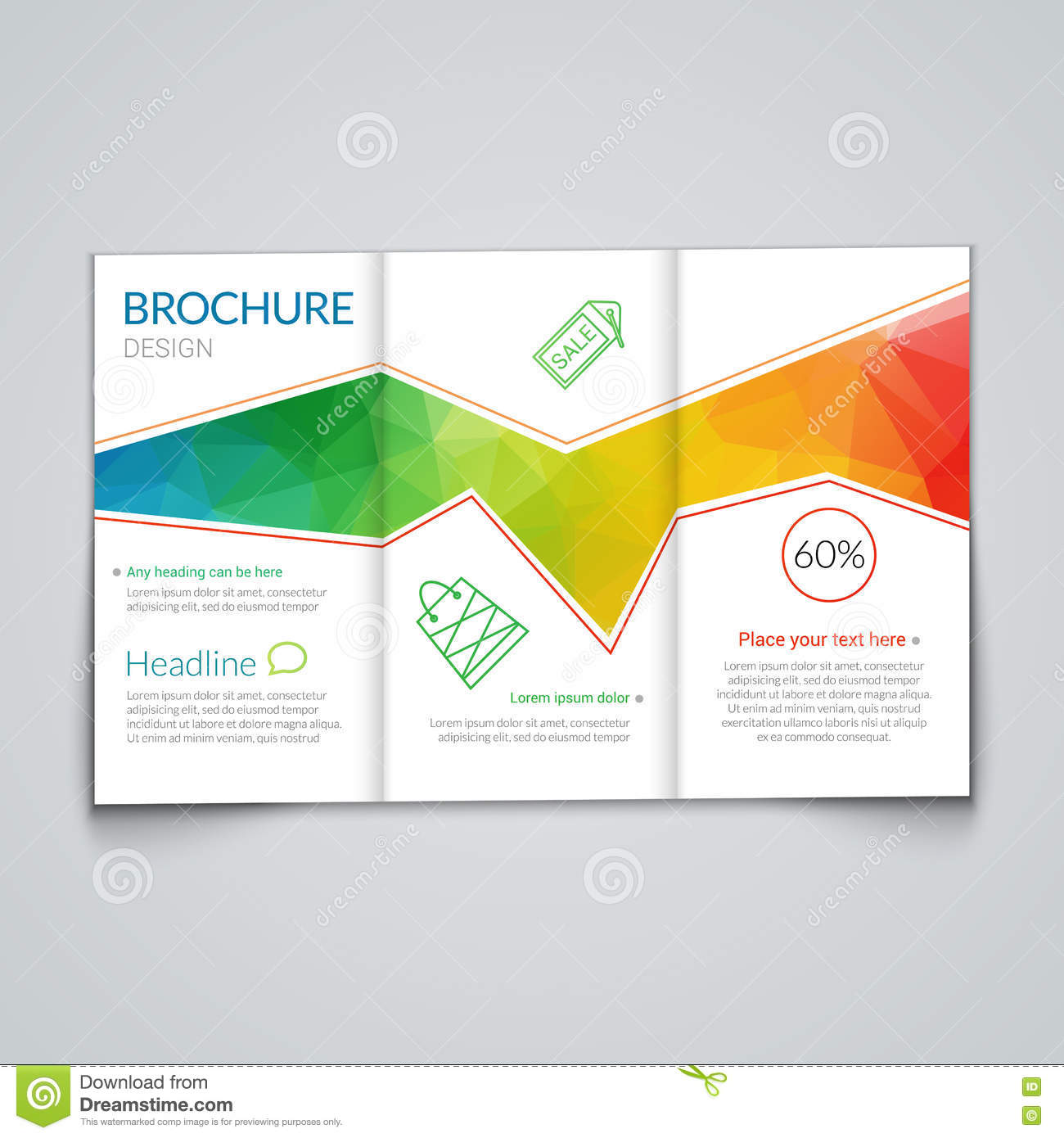 tri fold brochure design template with modern polygonal background on white document editable