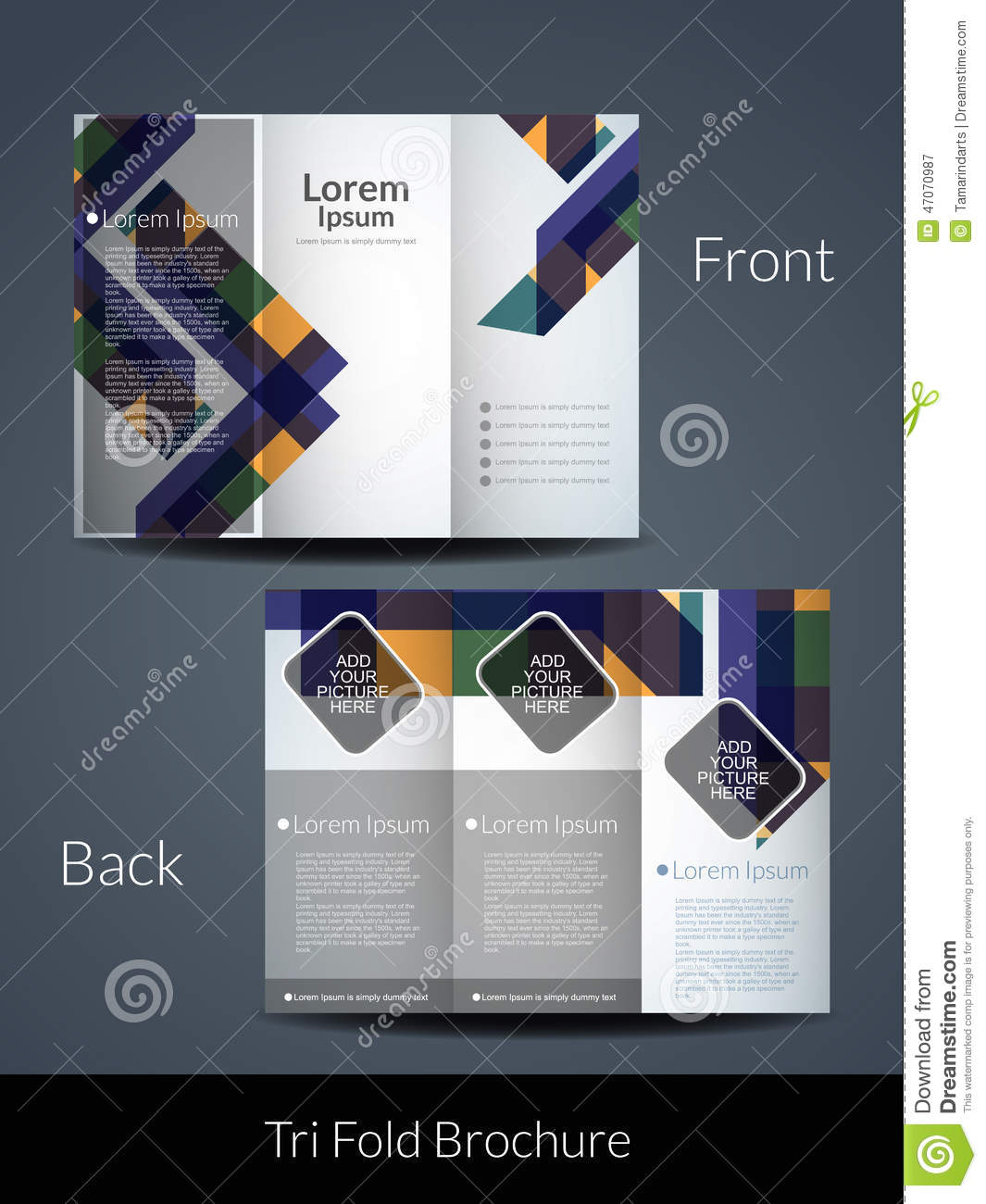 Tri Fold Brochure Design Template. Stock Vector - Image: 47070987