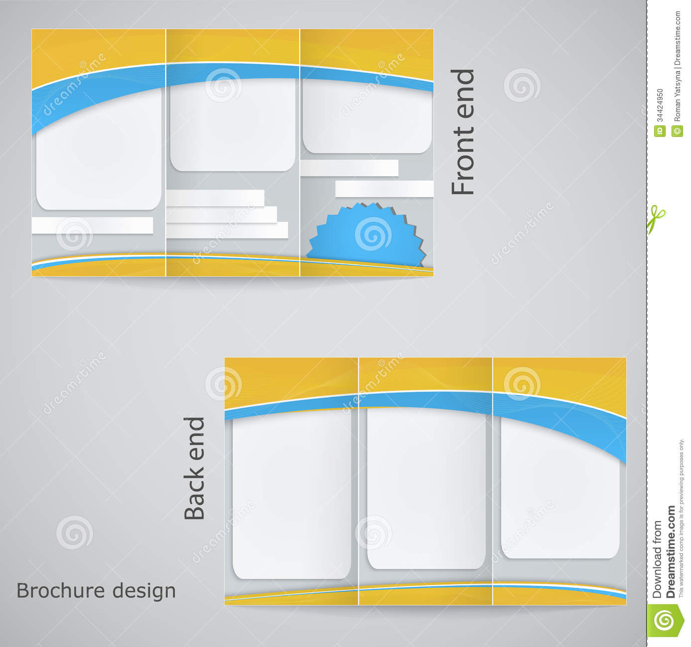 Tri fold brochure design stock vector image of branding for Free 3 fold brochure template
