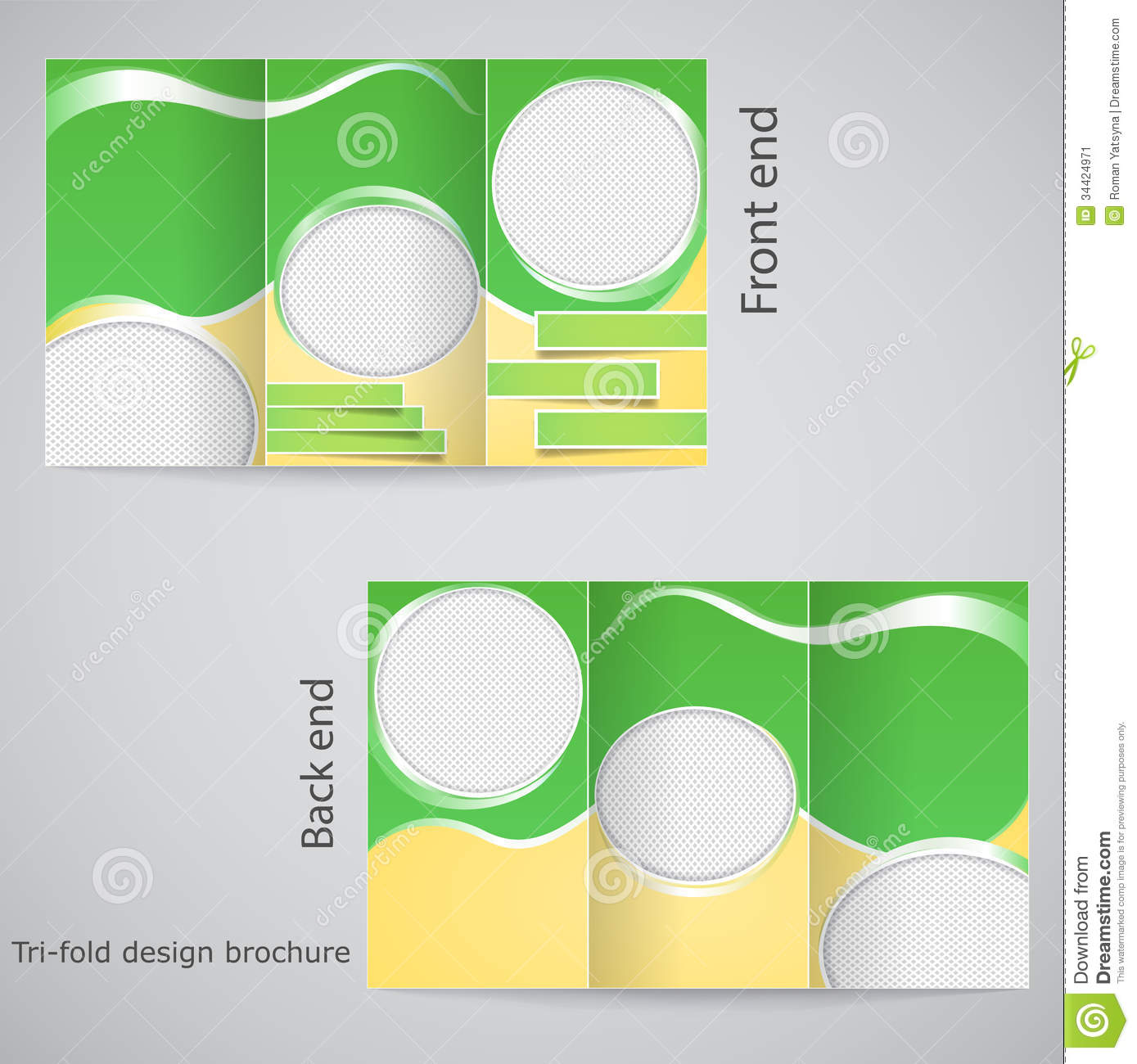Tri fold brochure design stock vector illustration of for Free brochure layout template