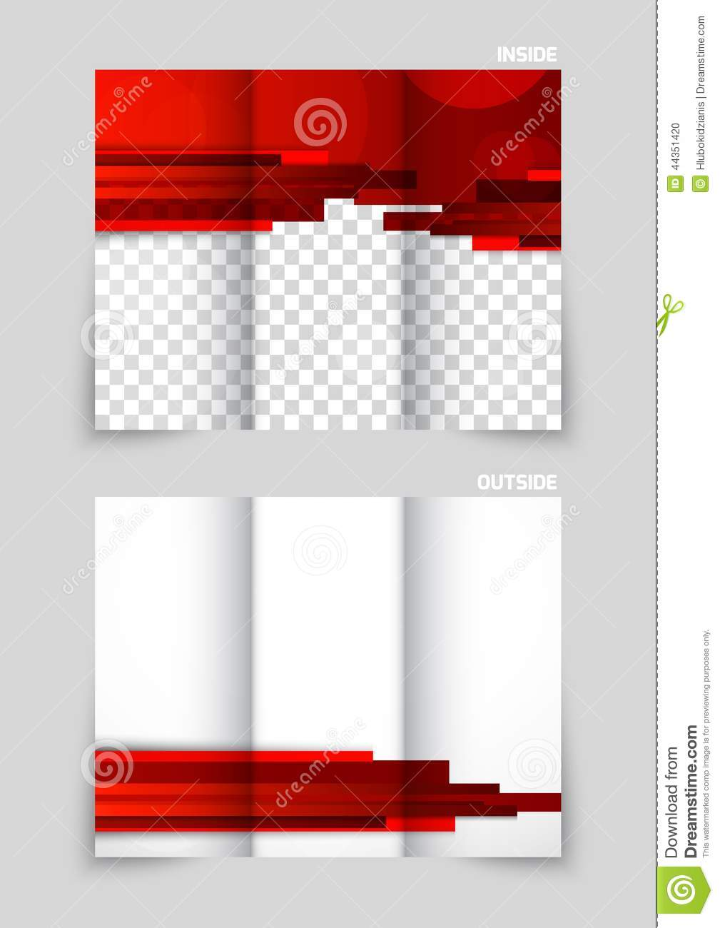 Tri fold brochure template design stock vector for Red brochure template