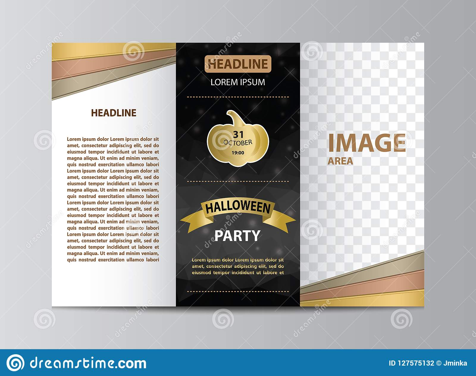 Tri-fold Brochure Template For Halloween Party Stock Vector