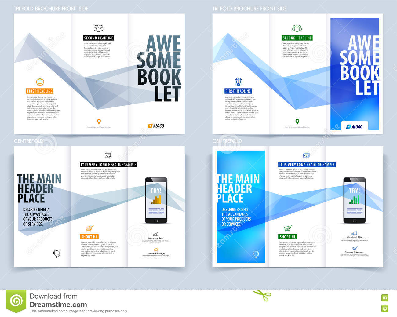 Blue rectangular business flyer brochure template cartoon for Engineering brochure templates free download