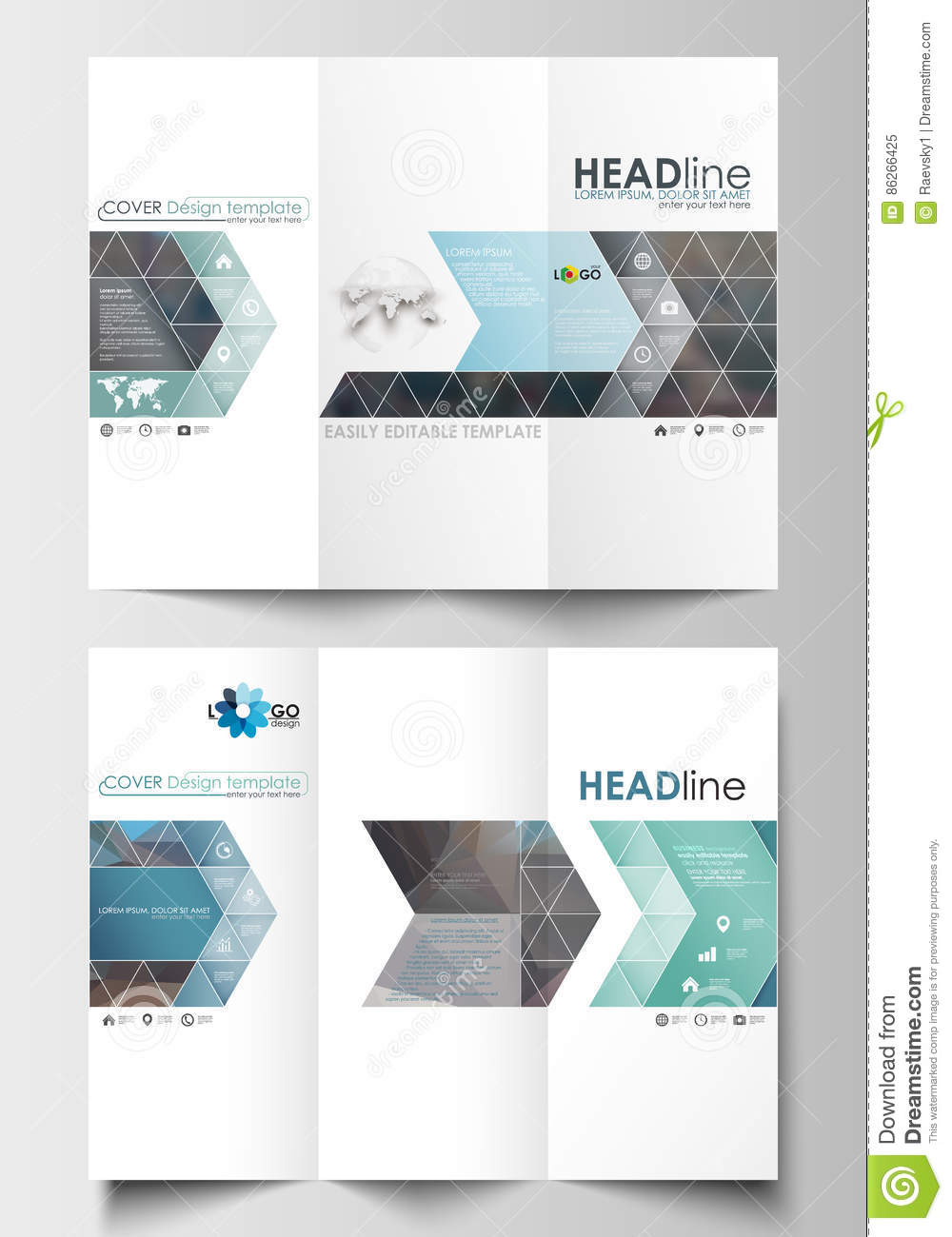 tri fold brochure templates on both sides easy editable layout in