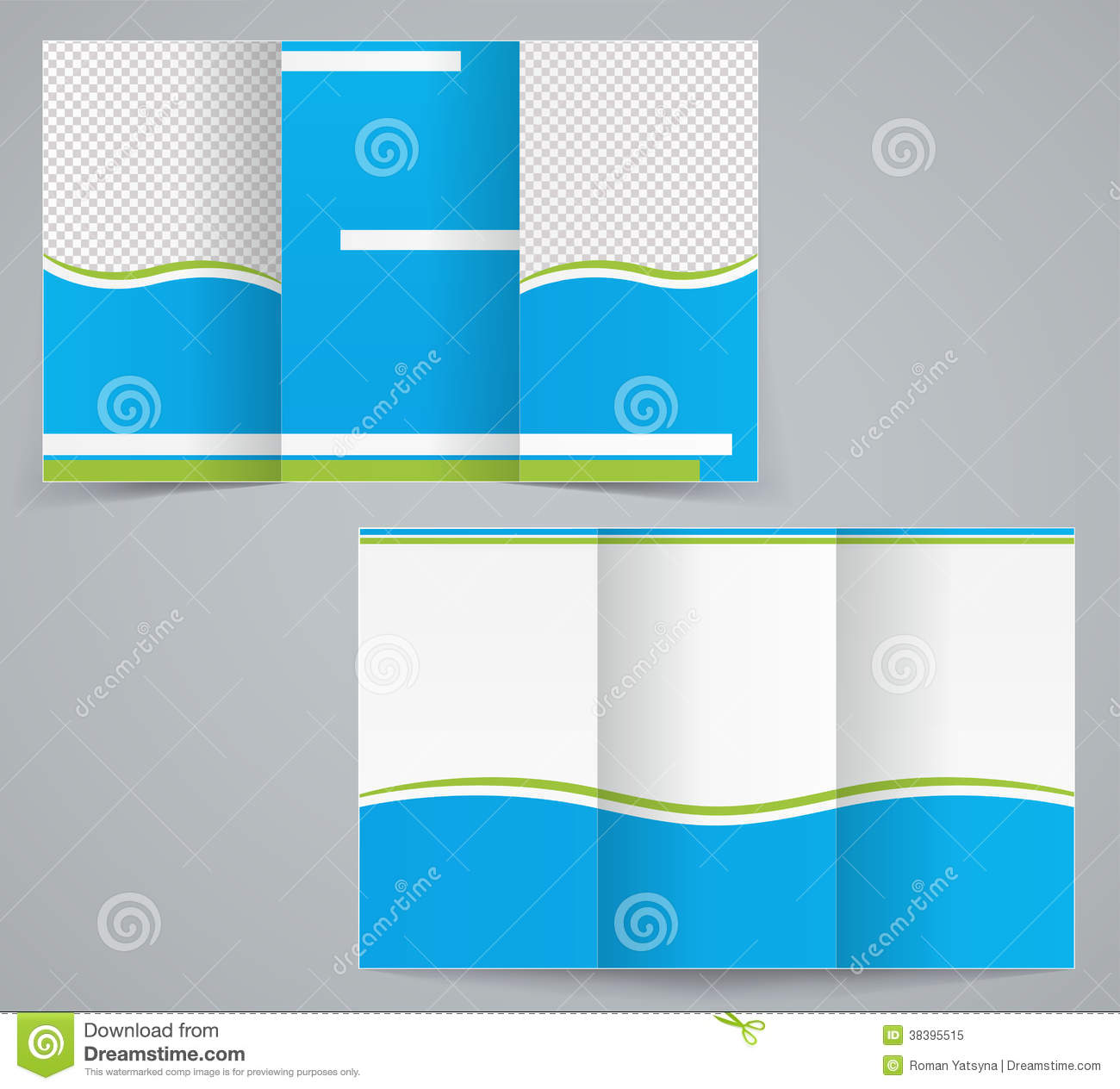 Tri-fold Business Brochure Template, Blue Design Stock Vector ...