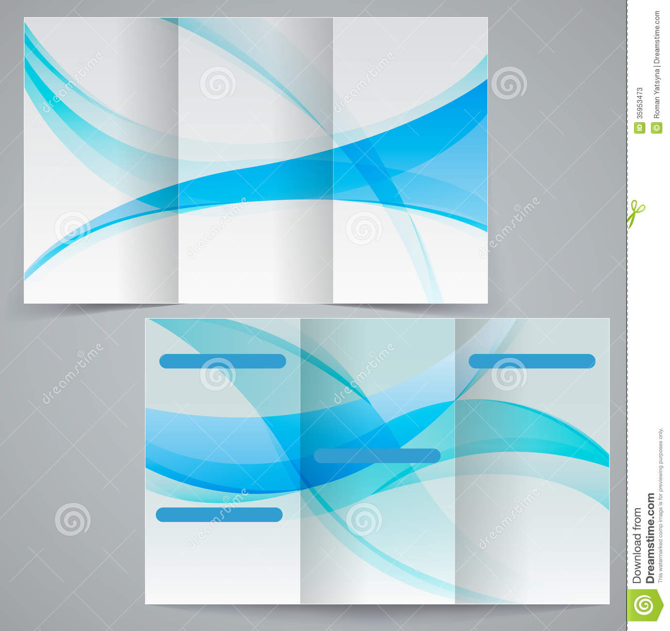 Tri Fold Business Brochure Template, Vector Blue D  Microsoft Trifold Template