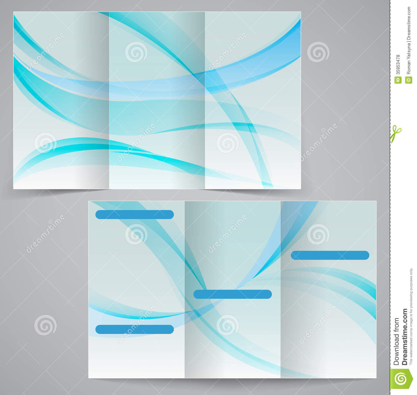 Trifold Business Brochure Template Vector Blue D Royalty Free – Blue Flyer Template