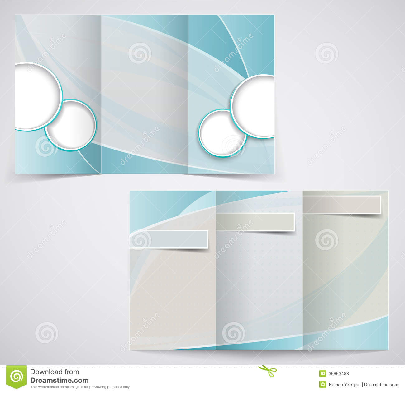 Tri-fold Business Brochure Template, Vector Blue D Royalty Free ...