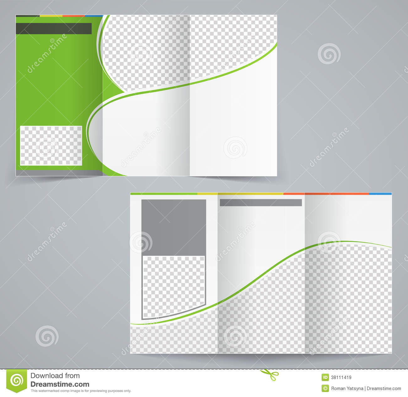 Tri Fold Business Brochure Template, Vector Green  Free Blank Flyer Templates