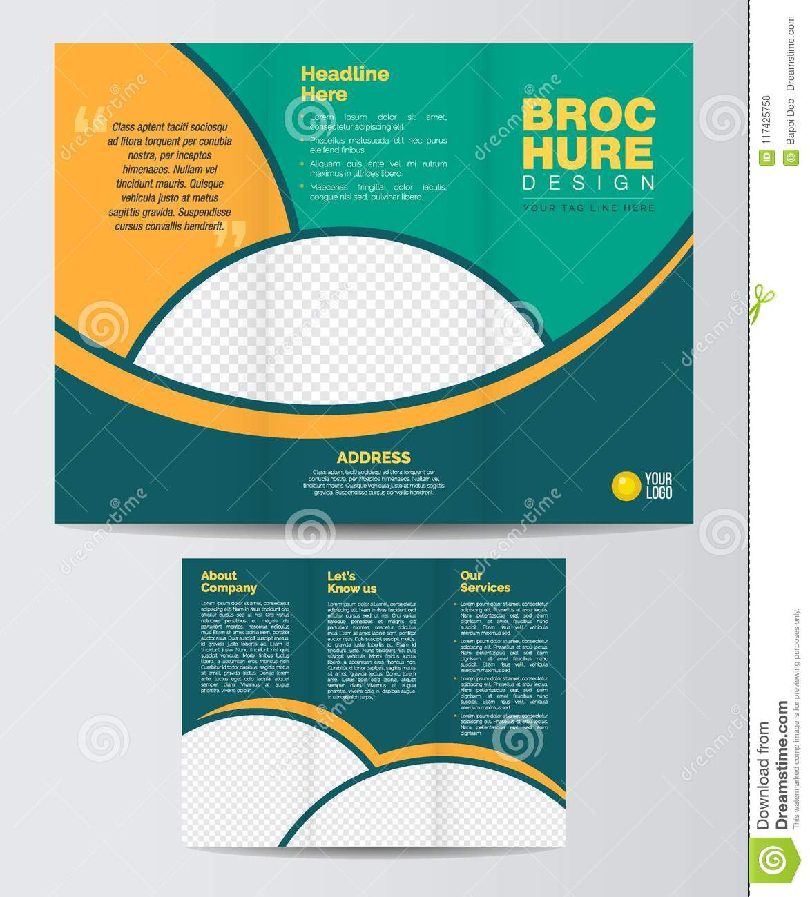 Tri Fold Corporate Brochure Design Layout Template Front And Backe
