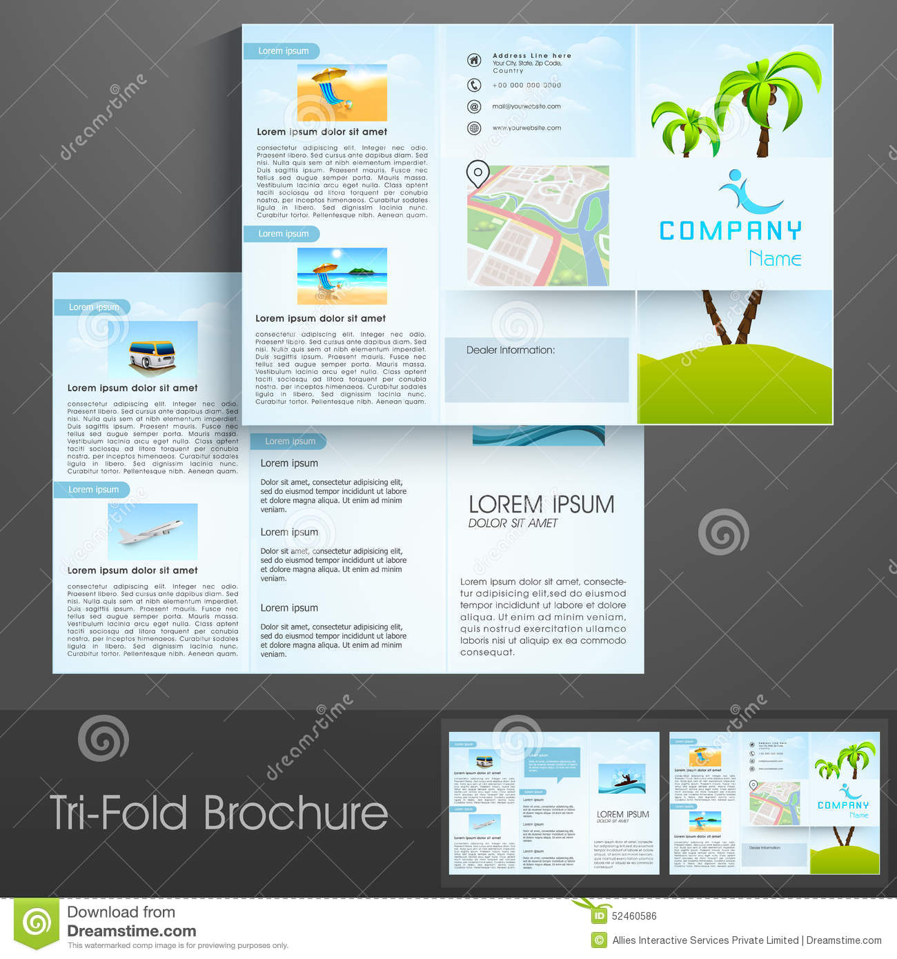 tri fold flyer brochure or template design for tour and travels