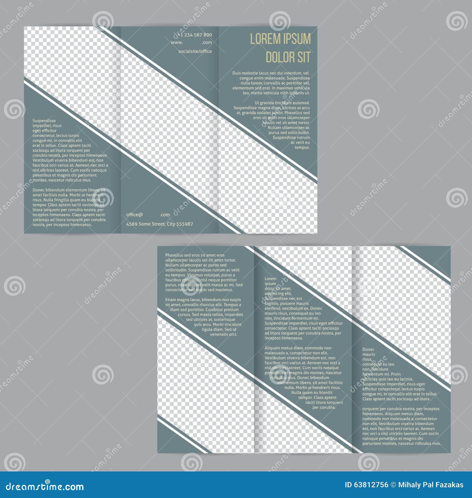 tri fold flyer brochure template with slate blue stripes stock