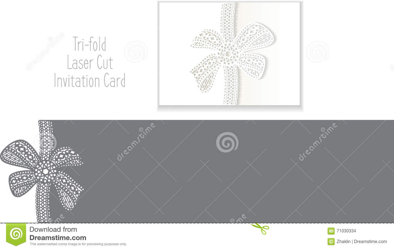 tri fold laser cut envelope template invitation card stock vector