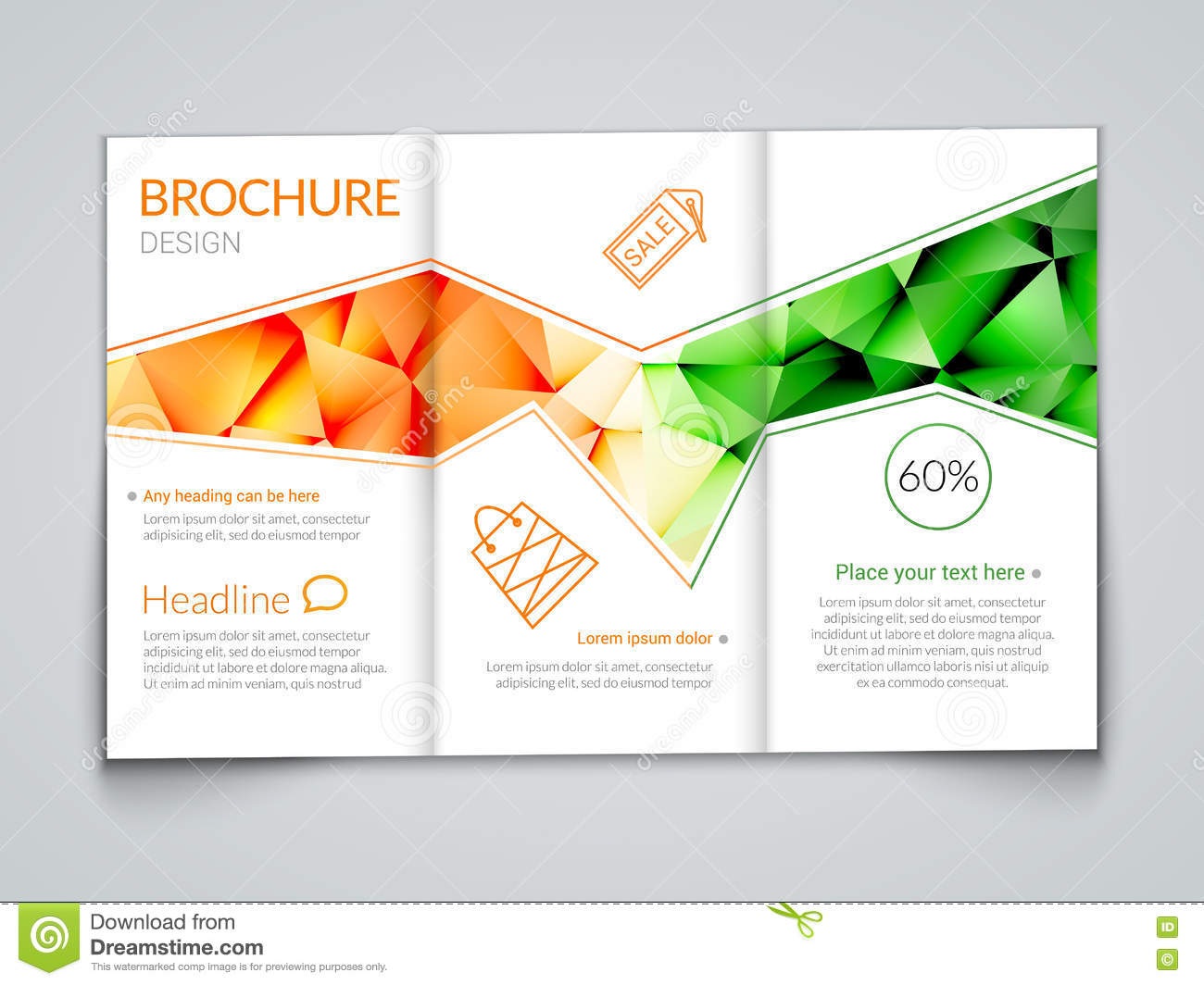 Tri fold modern brochure design template with trendy for Background brochure templates