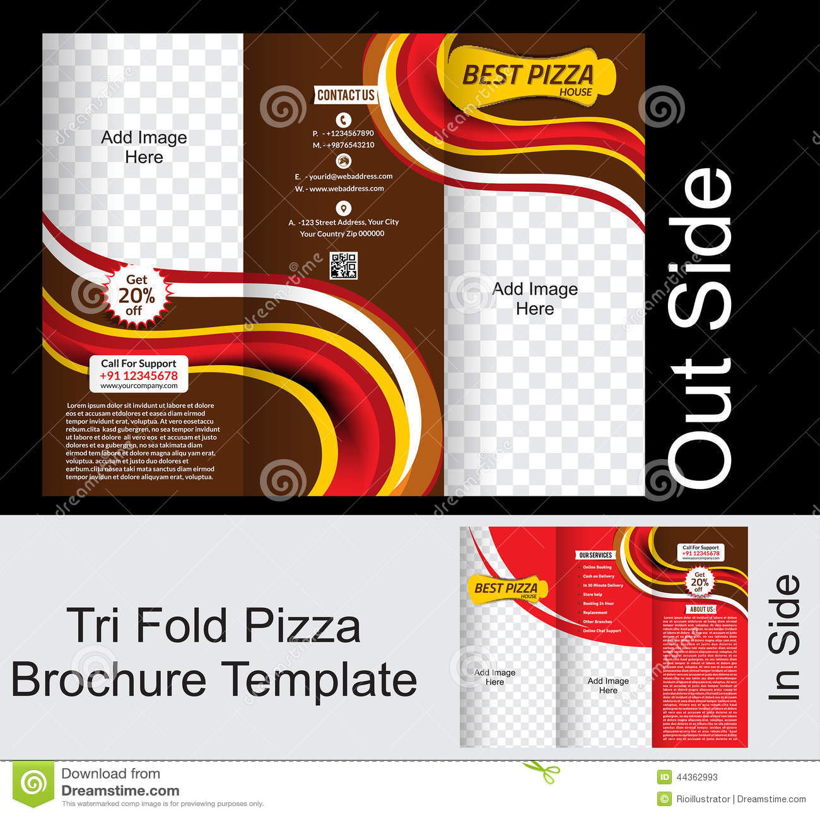tri fold pizza brochure tempate stock illustration