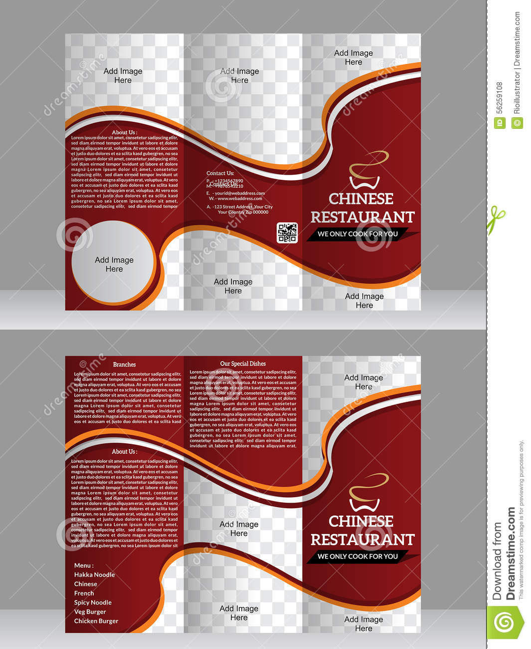 Tri fold restaurant brochure design template stock vector