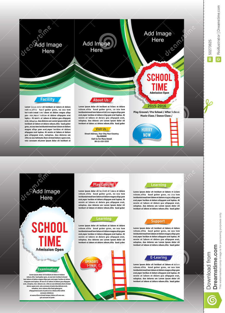 Tri Fold School Brochure Template Stock Vector Illustration - Tri fold school brochure template