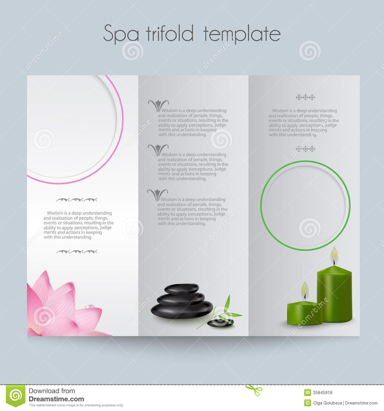 Tri fold spa brochure mock up royalty free stock photos for Brochure booklet templates