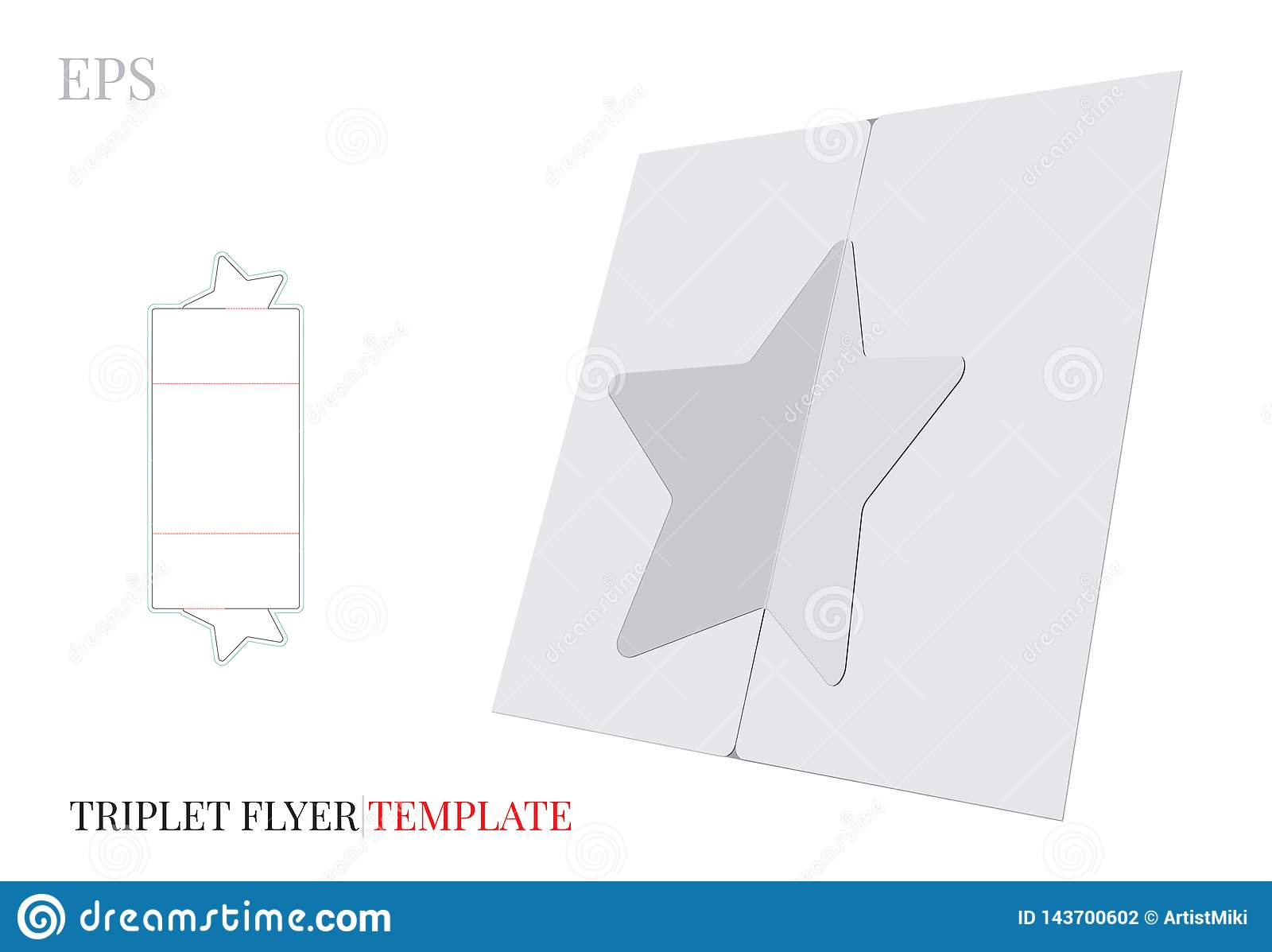 Tri Fold Star Brochure Template Vector With Die Cut Laser