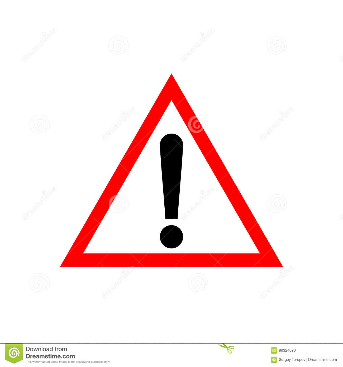 Triangle Attention Sign With Exclamation Mark Symbol Stock Vector