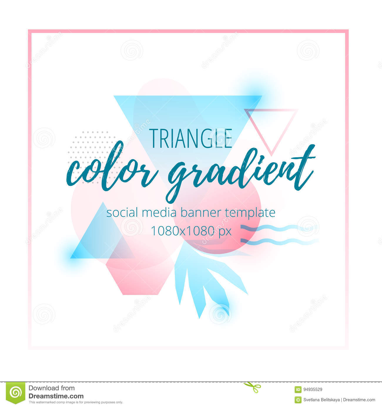 triangle color gradient social media banner template in
