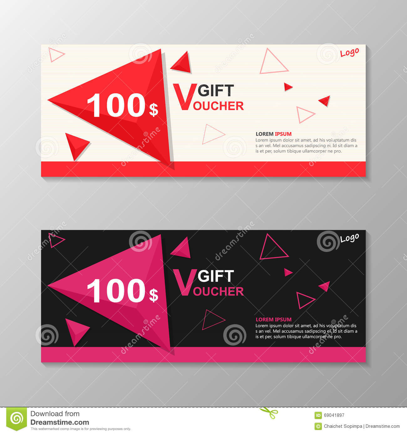 Triangle elegance pink red gift voucher template layout for Shopping certificate template