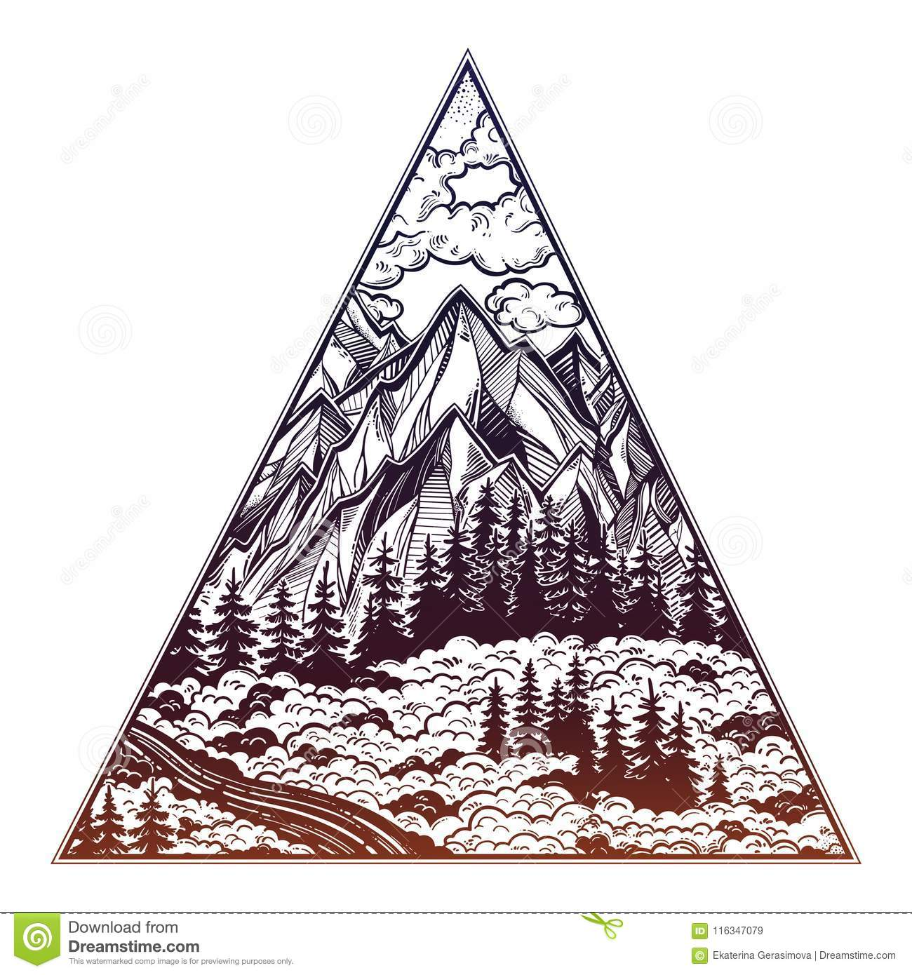 Triangle Frame With Landscape Forest And Mountains. Stock Vector ...