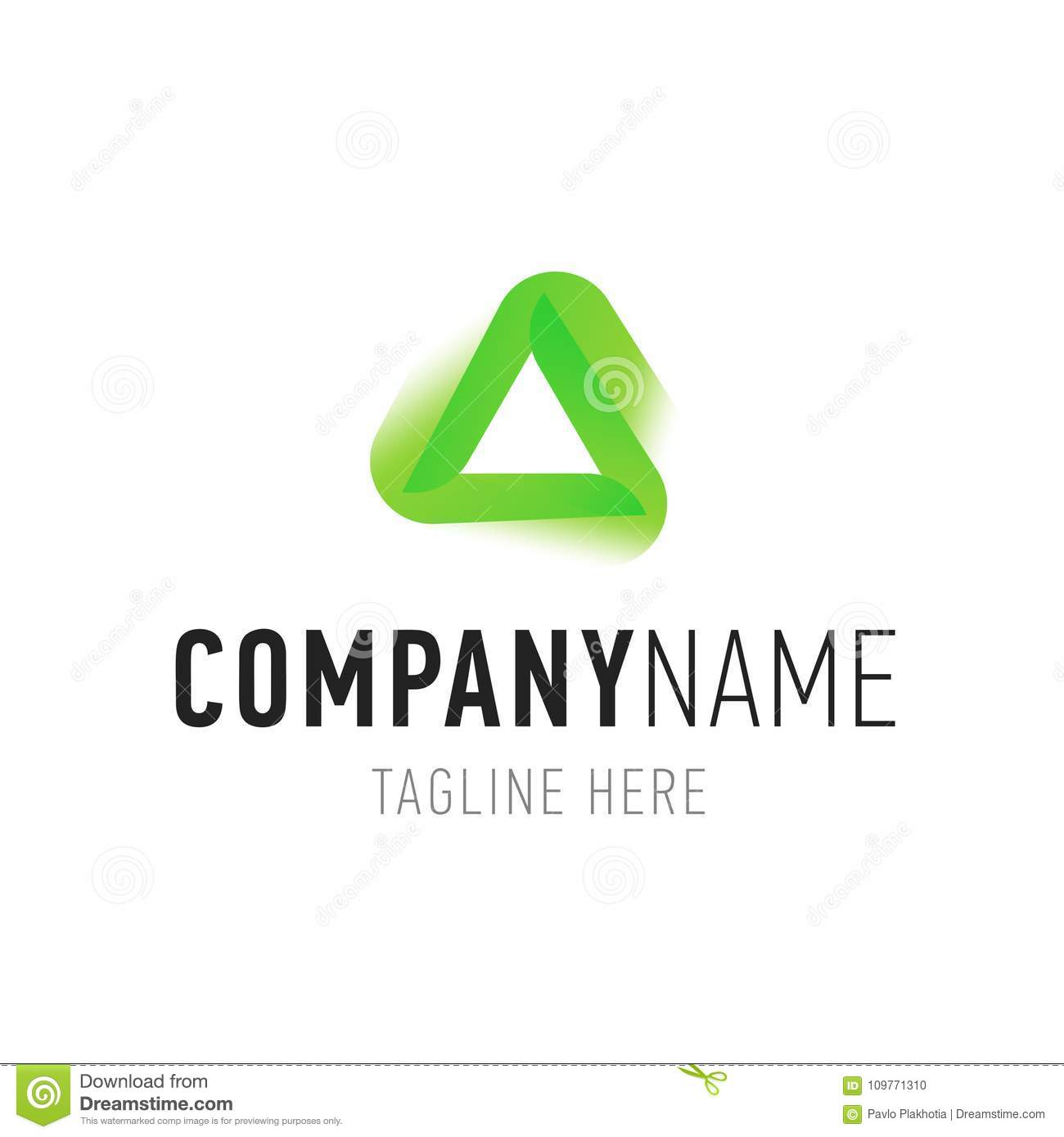Triangle Green Abstract Isolated Element For Logo Design Corporate