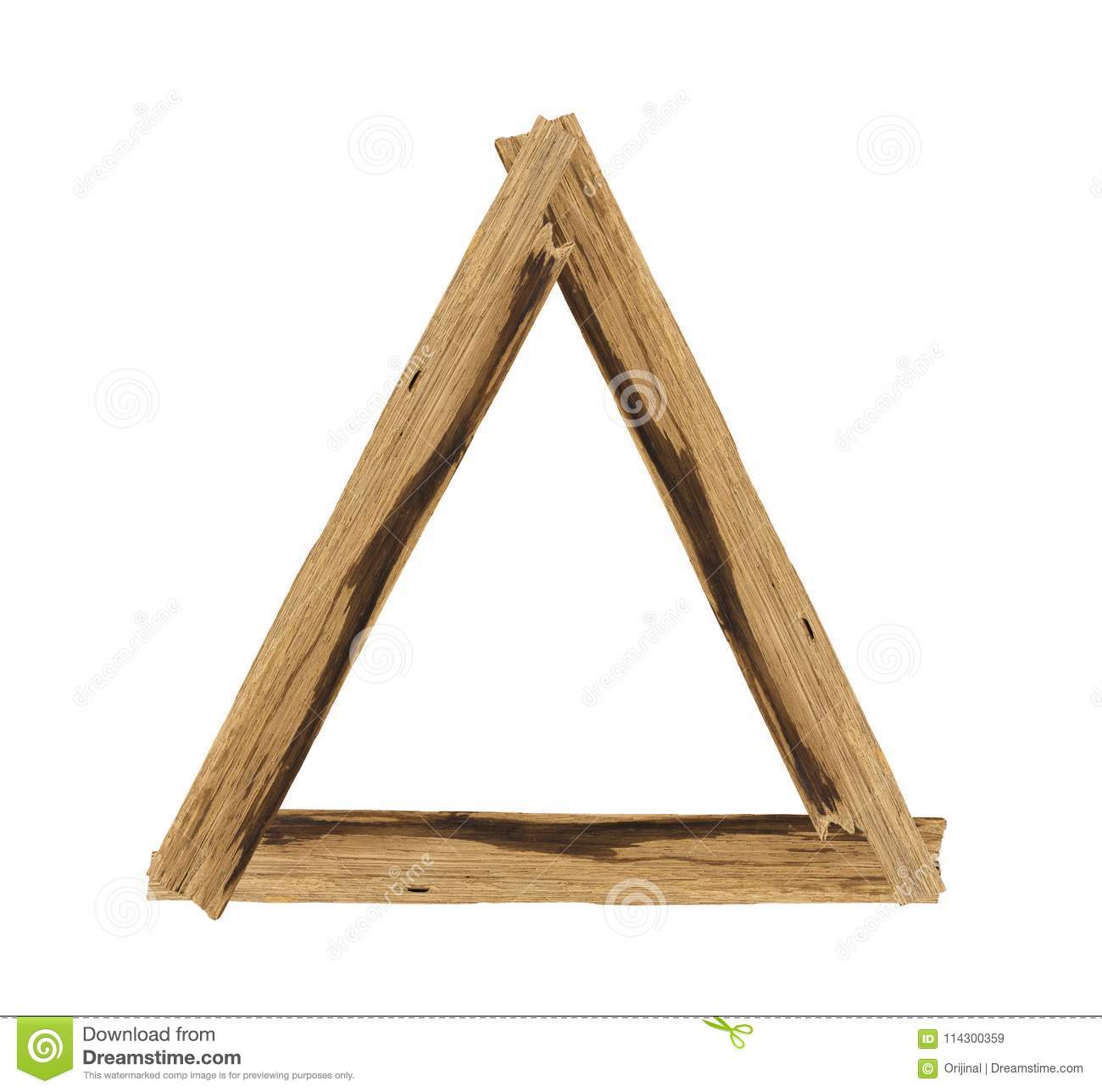 Triangle Picture Frames Made Of Plank Wood Isolated On White Stock ...