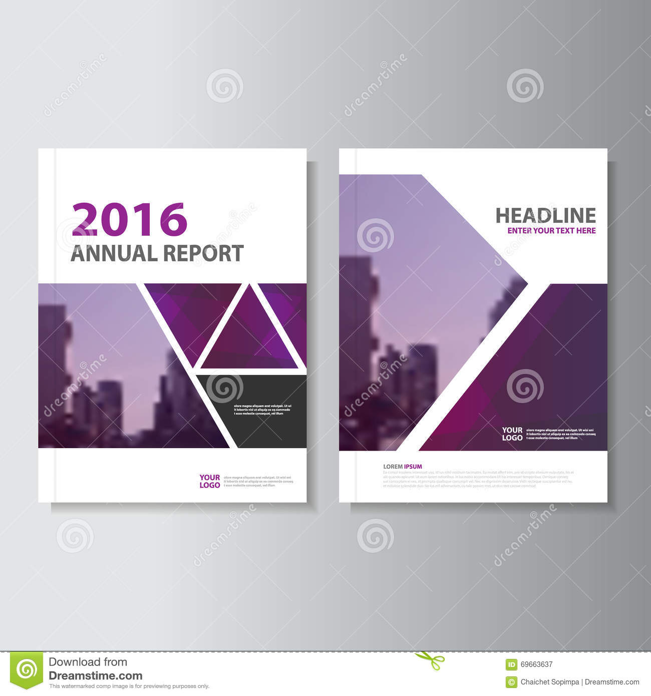 Book Cover Layout Design : Triangle purple annual report leaflet brochure flyer