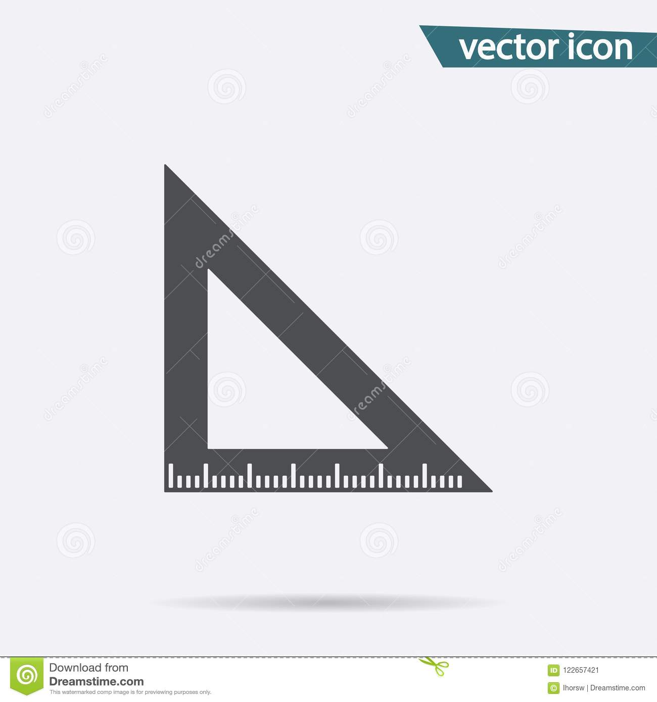Triangle Ruler Tool Icon Vector Isolated Modern Simple Flat