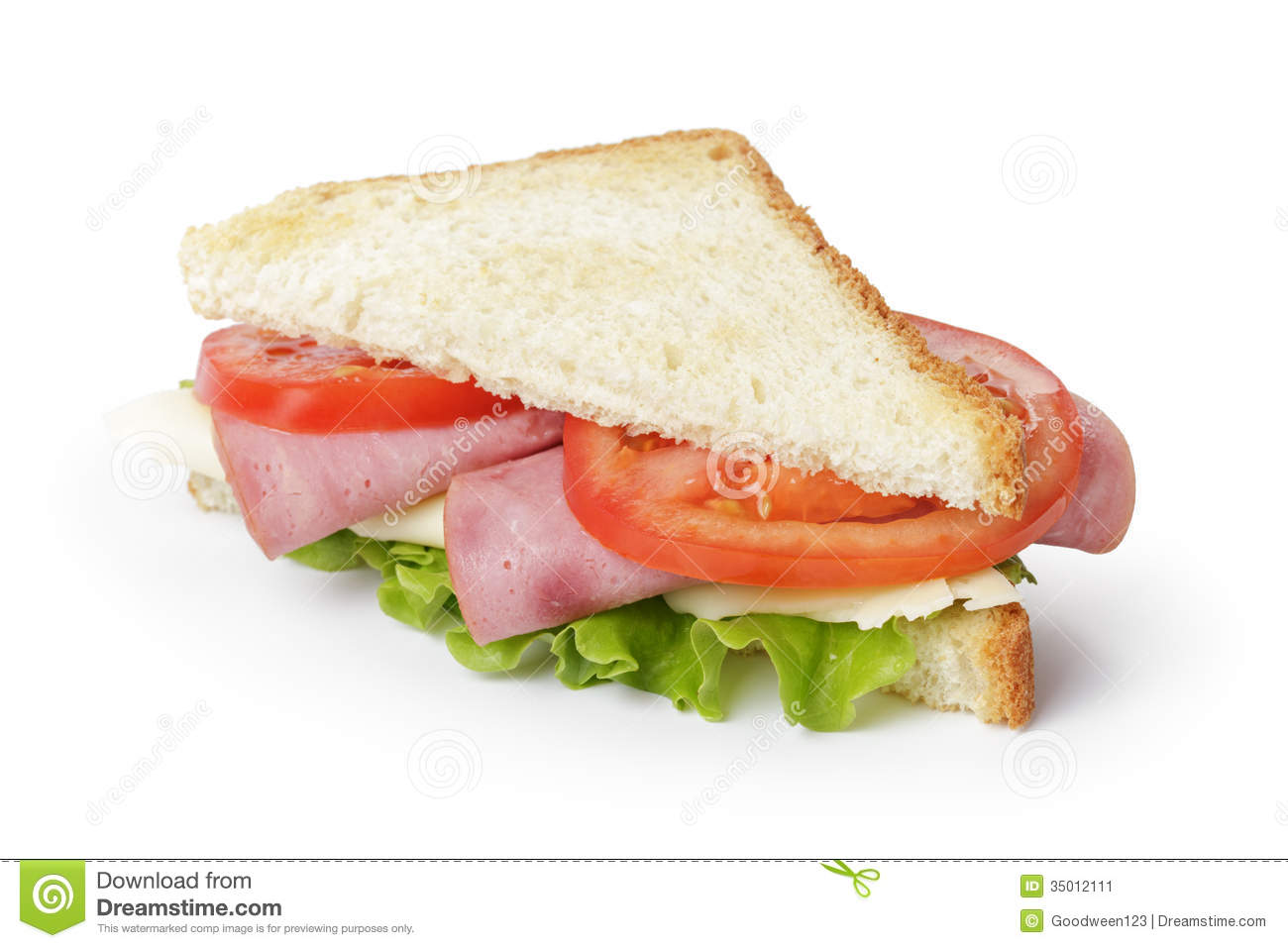 ... Sandwich With Ham, Cheese And Vegetables Stock Image - Image: 35012111