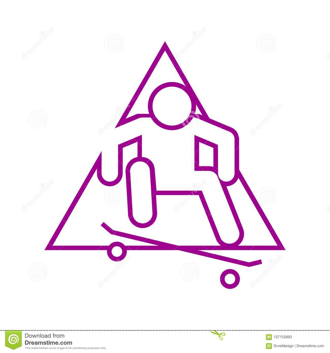 Triangle Shape Skateboard Ollie Sport Outline Figure Symbol Vector